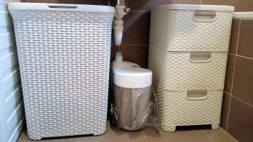 Laundry basket and drawers for the bathroom
