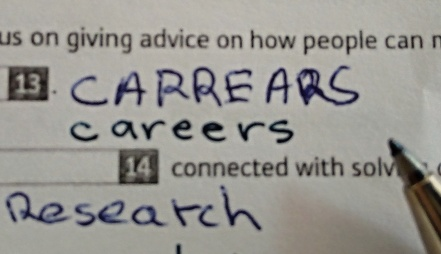 The most convoluted attempted spelling of career in my career