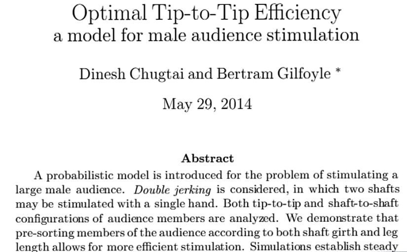 What I Hated the Least Today 157/365: Optimal Tip-to-Tip Efficiency (NSFW)