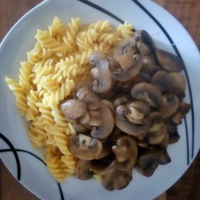 Pasta and mushrooms (this actually tasted okay and wasn't overcooked)