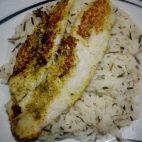 Overcooked fish British style and rice